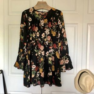 H&M Floral tunic with bell sleeves
